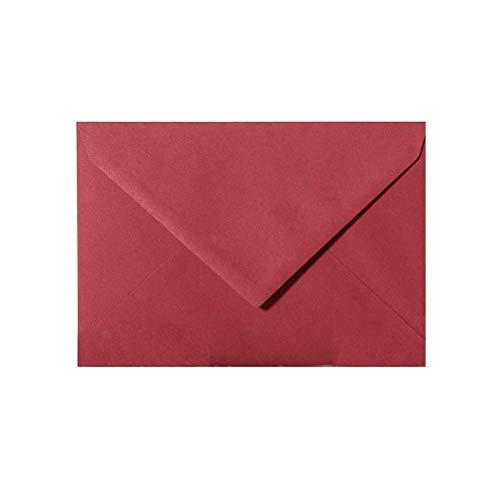 50 rote recycelte Briefumschläge - DIN C6-114 x 162 mm - Kuverts mit Nassklebung ohne Fenster für Grußkarten & Einladungen