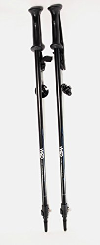 WSD Ski Poles Telescopic Adjustable Adult Downhill/Alpine Collapsible Pair with Baskets, Black New, 115 cm - 135 cm (45