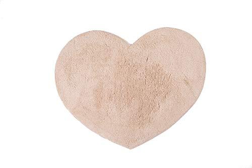 Biancheria Store Alfombra con forma de corazón, 55 x 70 cm, 100 % algodón, con forma de corazón, suave, lavable a máquina, color beige