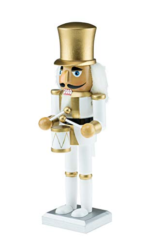Clever Creations Wooden White and Gold Drummer Nutcracker   Festive White and Gold Drummer Military Outfit   Extraordinary Traditional Christmas Decor   Stands 10' Perfect for Shelves and Tables