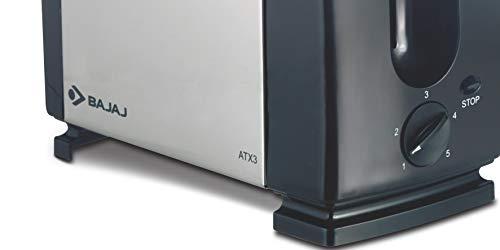 Bajaj ATX 3 750-Watt Auto Pop-up Toaster (Black/Silver)