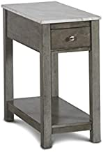 New Classic Furniture Noah Faux Marble Top End Table with Drawer, Gray