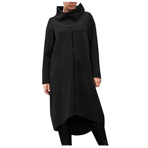 GOKOMO Damen Pulloverkleid mit Reißverschluss Pullover Hoodie Lange Tops Langarm Sweatshirt Casual Täglich Herbst Pulli Kleider Sweatjacke(Schwarz,XX-Large)