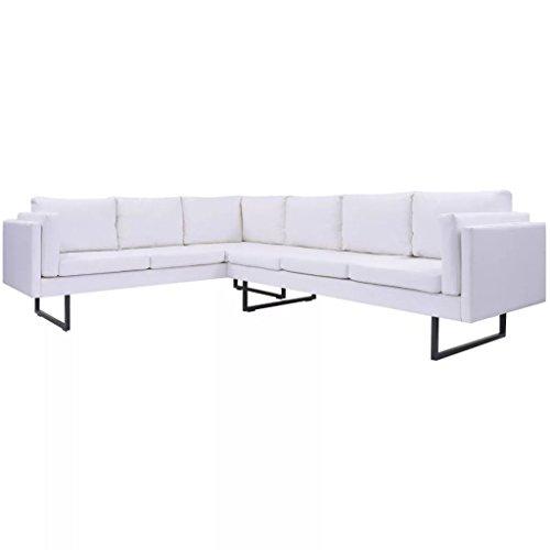 vidaXL Ecksofa Ledersofa Sofa Couch Eckcouch Polstergarnitur Kunstleder Weiß