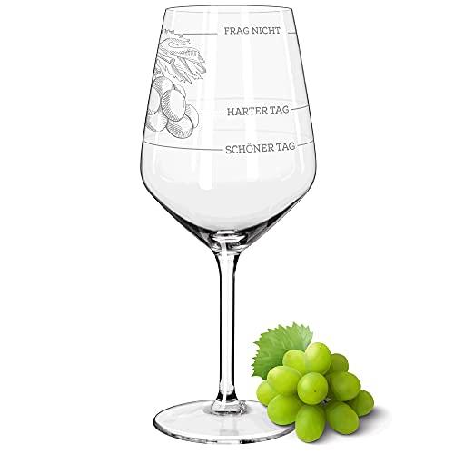 Copa de vino XL   Buen día, mal día, pregunta no (530 ml)   divertido regalo para mujeres y hombres   copas de vino blanco