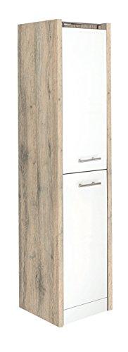 Schildmeyer Hochschrank 700998 Trient, 38 x 35 x 157.5 cm, weiß glanz / wildeiche Dekor