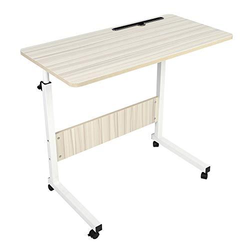 Wakects - Escritorio para ordenador portátil, mesa para ordenador de pie, mesa ajustable con ruedas, 80 x 40 x 71,5 cm, blanco/negro (beige)