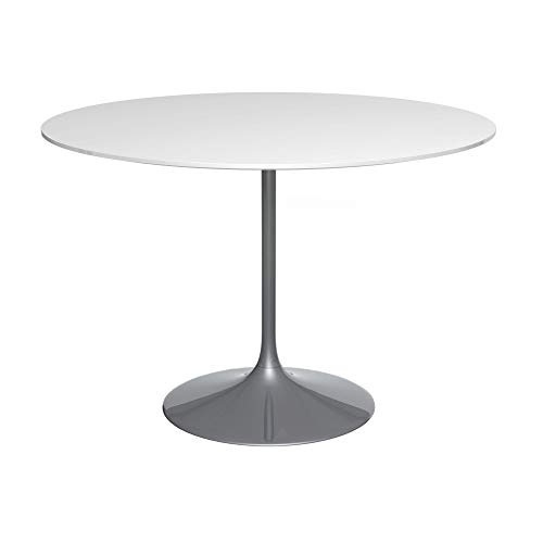 Gillmore Space Socle Grande Table à Manger Blanc Brillant Et Noir