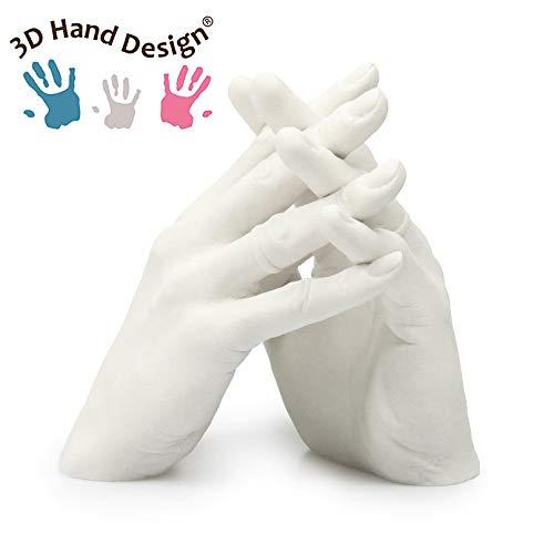Idea Regalo y Conjunto Completo para Moldes e Huellas Recuerdo Adultos Kit Molde de Manos para Esculturas 3D de Pareja Made in Italy Familia y Ni/ños