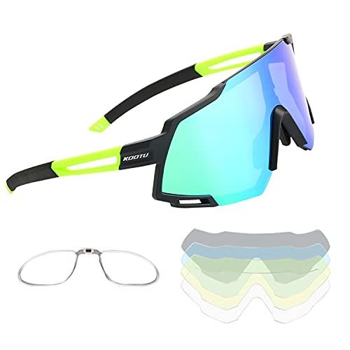 SAVADECK Gafas de sol polarizadas de Ciclismo de Bicicleta Hombres y mujeres Unisex Protección UV-400 Gafas de sol para bicicleta de carretera Bicicleta de montaña (Verde)