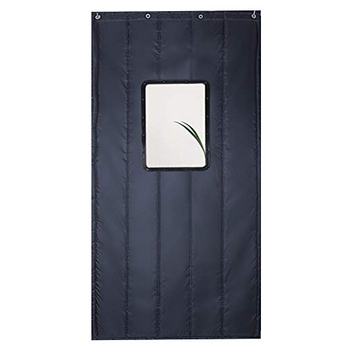 CYGJ Gris Oscuro Cortinas De Puertas Interiores con Ventana Transparente 100x220cm/39.4x86.7in Cortina Aislante Termico para Balcón, Puertas Corredizas, Sala De Estar