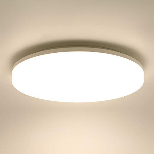 Lamker 24W LED Plafoniera Impermeabile IP44 Tondo Sottile LED Lampada a Soffitto 2160lm 4000K Plafoniere Bianco Naturale Ø33cm Camera da Letto Bagno Cucina Corridoio Cantina Balcone Soggiorno Ufficio