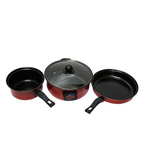 XINAO Batería de cocina antiadherente de tres piezas, fácil de limpiar, color rojo