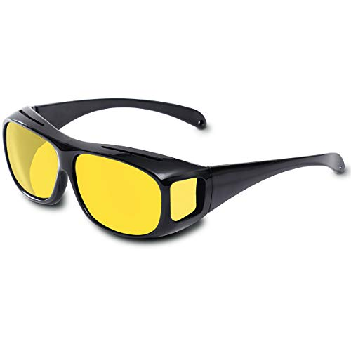 tazat Night Vision Glasses for Driving, Night Vision Glasses for Driving, Fit Over Driving Glasses (Yellow-Night Vision)