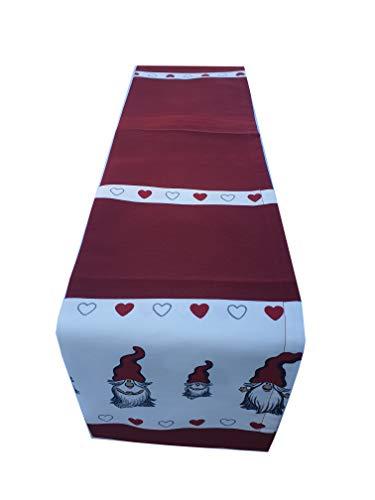 Sprügel Weihnachten 2019 / Tischläufer Dwarf Hearts - Weihnachtswichtel mit Herzen - 50 x 140 cm 100% Baumwolle