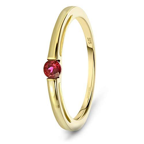 Miore Schmuck Damen Verlobungsring mit Edelstein/Geburtsstein Rubin in rot Ring aus Gelbgold 9 Karat/ 375 Gold