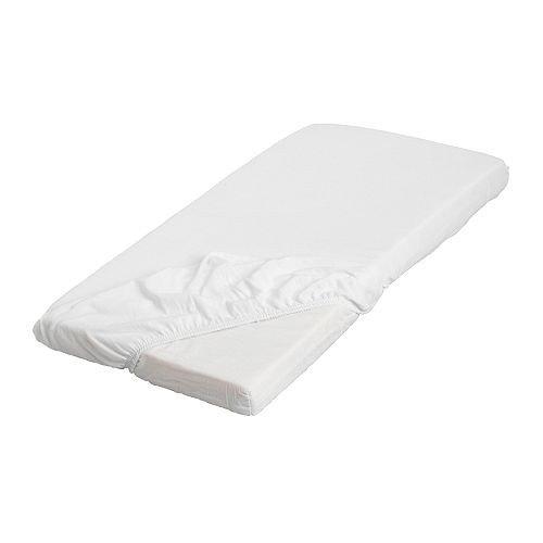 Ikea LEN Spannbettlaken, weiß, baumwolle-160 x 70cm, Schurwolle, White, 28 x 16 x 3 cm