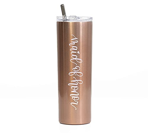 The Navy Knot Maid of Honor Wine Tumbler - Stainless Steel Skinny Insulated Tumblers w/ Lids & Straw - Stemless Wine Glass & Coffee Cup - Gifts for Women, Traveler, Teens & Adults (Rose Gold, 20 Oz)