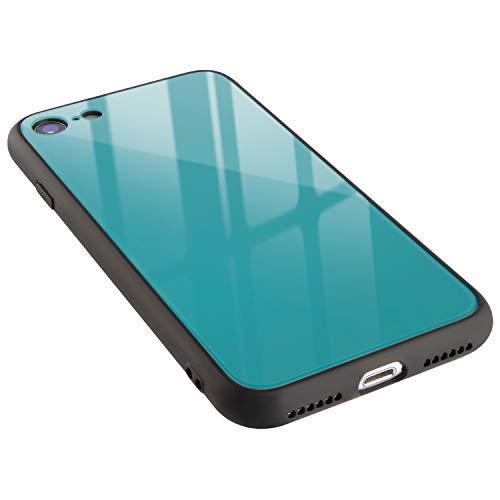 campino iPhone SE(第2世代) iPhone 8 / 7 ケース カラー 強化ガラス + バンパー 耐衝撃 滑り止め 薄型 Qi ワイヤレス充電対応 ストラップホール セルリアン ブルー 青