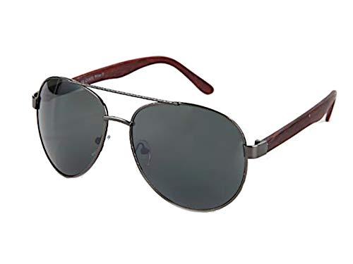 Chic-Net Sonnenbrille Piloten Retro 400 UV Doppelsteg Bügel Holzmaserung dunkelgrün