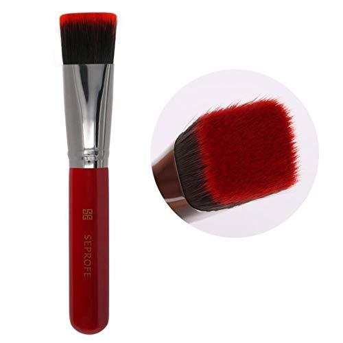 Heng Foundation Pinceaux de Maquillage Tilt Flat Head métal métal Peinture poignée Concealer Pinceau Maquillage Outils, Rouge Plat