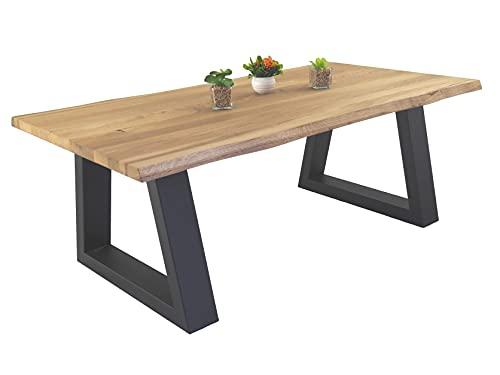 Lumarc Taormina, Table Basse de Salon en Bois Massif de Chêne Naturel au Design Industriel Minimaliste Moderne, Rectangulaire, 110x60x40 cm