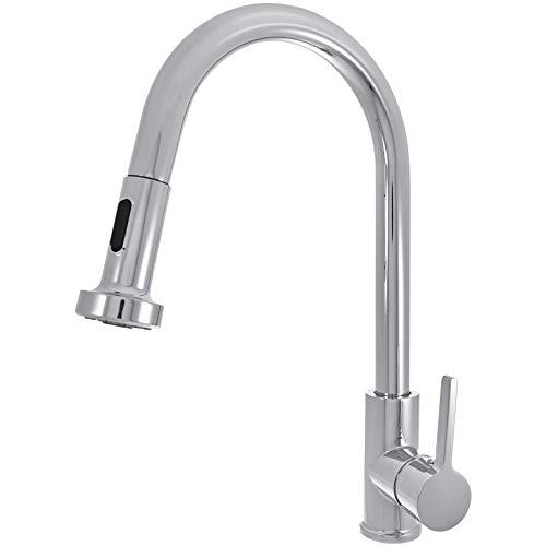 Amazon Basics - Moderner Wasserhahn für die Küche, mit ausziehbarer Brause - poliertes Chrom