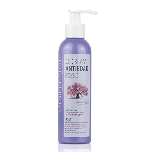 Clearé Institute CC Cream - Tratamiento Regenerador Antiedad | Aporta fuerza y Volumen | 95% Ingredientes Naturales | Aumenta Resistencia a la Rotura | Protector Térmico| Sin Parabenos - 200ml