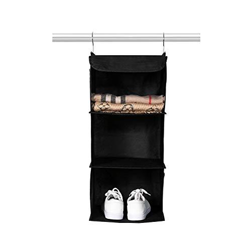 BrilliantJo Hanging Closet Organizer Set for Clothes Sweaters shoes 3 shelf Hanging Wardrobe Storage light Shelves Black(30 * 30 * 60cm)