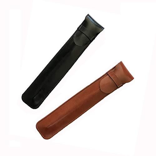 Shuxy portapenne in pelle Holder a mano penna stilografica penna sacchetto morbido manicotto protettivo copertura per Apple matita, penna a sfera, pennino touch - Confezione da 2 (nero e marrone)