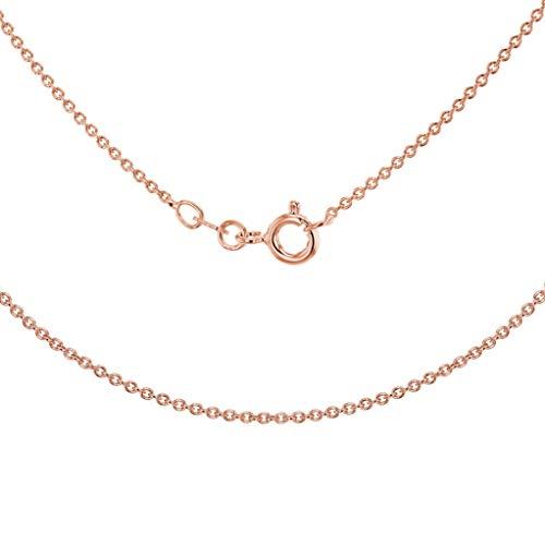 Tuscany Silver Collar para Mujer en Plata de Ley Chapada en Oro Rosa, Cadena Rolo (Tubo de 035) - 46cm/18'