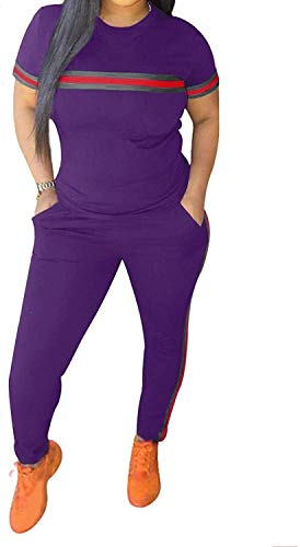 Sport Leggins,Yogahose Chic naar Max Womens trainingspak Set 2 stuks Plus Size Sports Outfits Top met lange mouwen en Bodycon broek joggingpak for Vrouwen Ladies (Color : B*Purple, Size : M)