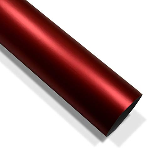 folimac 10 €/m² Rot Chrom Matt Metallic Autofolie Blasenfrei mit Luftkanäle (100cm x 152cm)