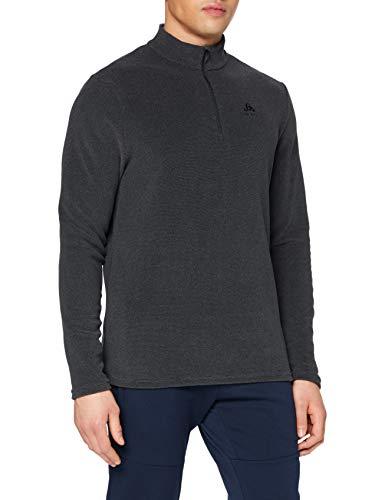 Odlo Herren Midlayer 1/2 Zip Roy Pullover, Shale Grey - Black Stripes, XL