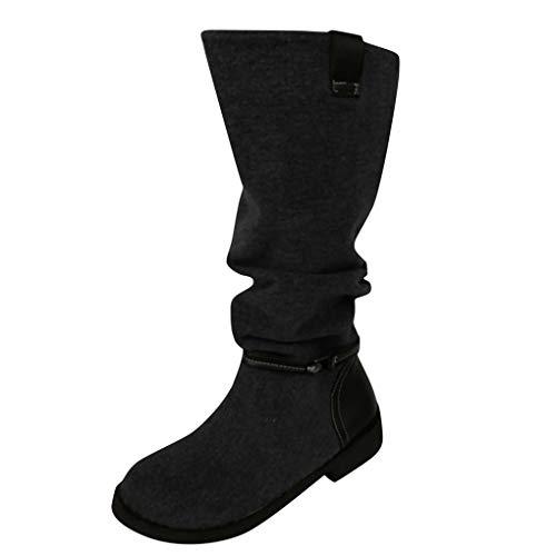 Dorical Damen Vintage Knight Stiefeletten,Damen Stiefel mit 3 cm Blockabsatz Flach Kurze Stiefel Wildleder Slip-On Trekkingstiefel(Schwarz,36 EU)