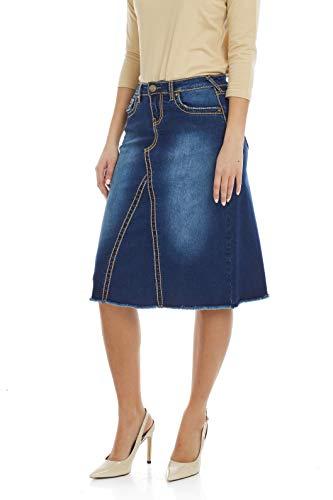 ESTEEZ Womens Denim A Line Skirt Victoria Blue 8