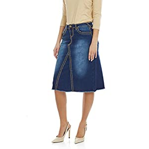 Women's Denim A Line Skirt Saddle Stitch Stretch Jean Victoria