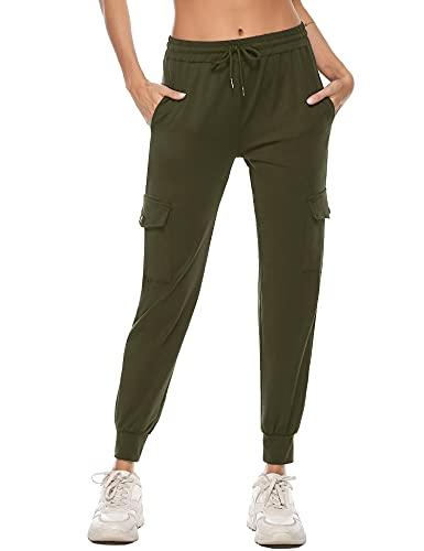 iClosam Pantalón Chándal para Mujer Largos,Pantalones Deportivos con Bolsillos Algodón Comodo y Transpirable para Jogger Yoga Fitness Correr Talla S-XXL