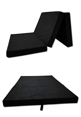Odolplusz Faltmatratze Klappmatratze Matratze faltbar klappbar Gästematratze Reisematratze (Schwarz, 120x200x10 cm)