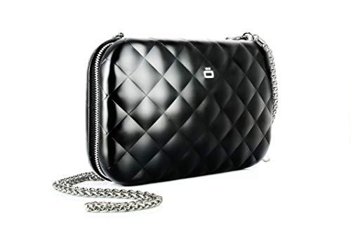 ÖGON Smart Wallets - Quilted Lady Bag Argent Sac minaudière Aluminium matelassé (Noir)