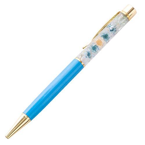 ハーバリウム ボールペン 花 ギフト プレゼントお祝い おしゃれ ブルー 完成品 ベロア調ケース付き