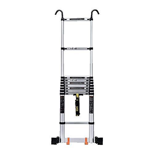 JHNEA Escalera Telescópica, Portátil de Aluminio Escaleras de Mano Extensible Household Stepladder Multiusos Escalera pies Antideslizantes apoyan 330 Lbs,3.1m/10.2ft