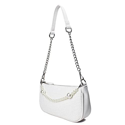 CAMILIFE Weiße Schulter Handtasche Mini Handtaschen mit Perlenkette Classic Vintage Tasche Kleine Weiße Handtasche für Damen 90er Umhängetasche