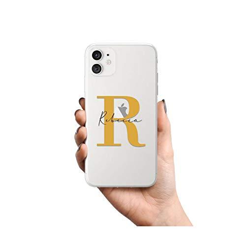 Carcasa de teléfono con nombre de letras mayúsculas para iPhone SE 2020 6 6S 7 8 Plus X XS XR XS Max 11 Pro 12 Mini MAX transparente teléfono caso - 1109132-para iPhone XR