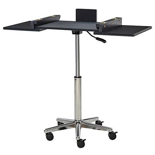 HOMCOM Laptoptisch Laptop Ständer Notebooktisch mit Rollen höhenverstellbar klappbar Computer Tablet Stahl + MDF Schwarz 90,5 x 36 x 65-90 cm