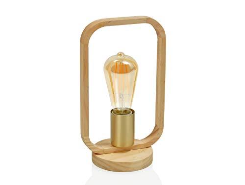 ANDREA HOUSE - Lámpara de latón y Madera para Bombilla Vista con aro Rectangular 16x11,5x27cm