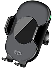 QI ワイヤレス充電器 自動開閉 充電ホルダー 黒 EV-703