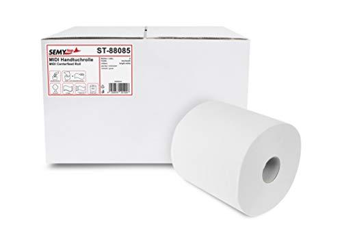 Semy Top ST-88085 Papier Handtücher Rollen, hellweiß, Packung von 6