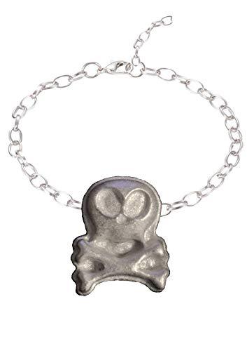 GIFTSFORALL FT336 Ghostly Skull & gekreuzte Knochen, englisches Zinn auf einem Fußkettchen/Armband, 2,3 x 2,8 cm