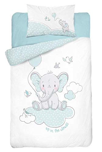 Parure de lit pour bébé 2 pièces 100 % coton - Dimensions : 100 x 135 cm - 40 x 60 cm - Certifié ÖkoTex Standard 100 (éléphant lovly vert)
